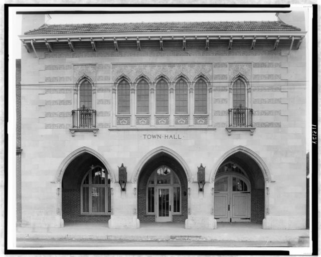 [Facade of the Town Hall, Littleton, Colorado which was designed by the architect Jacques Benois Benedict]