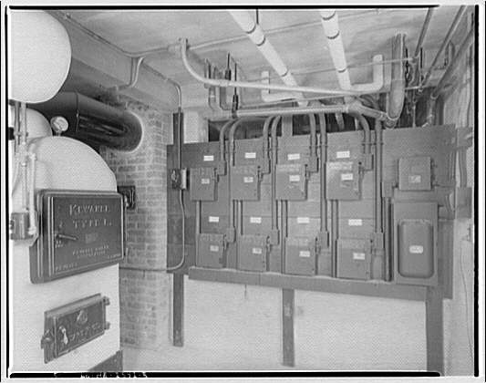 Federal Housing Administration. Electric boxes and furnace