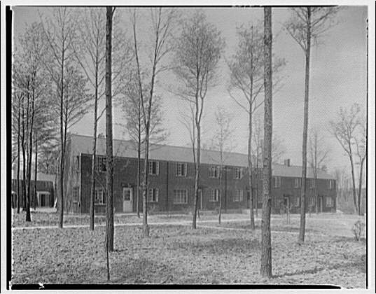 Federal Housing Administration. Exterior view of brick homes