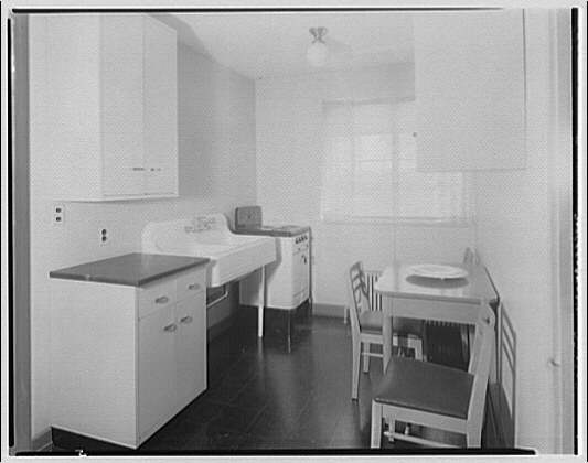 Federal Housing Administration. Kitchen in four-room house