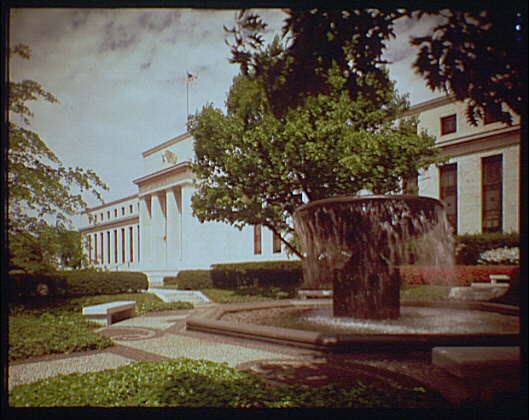 Federal Reserve Building, Constitution Ave. Federal Reserve, right corner, fountain in foreground I