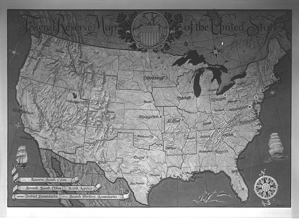 Federal Reserve Building. Map of U.S. in boardroom at Federal ...