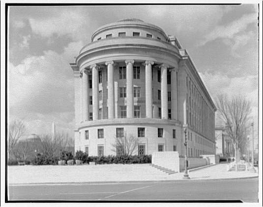 Federal Trade Commission. East and north side of Federal Trade Commission Building with Washington Monument II
