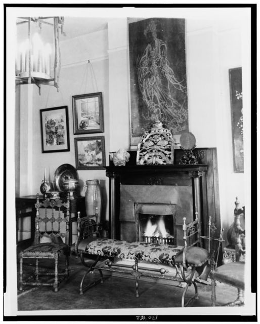 [Fireplace, furniture, and works of art in Frances Benjamin Johnston's home, 1132 Bourbon Street, New Orleans, Louisiana]