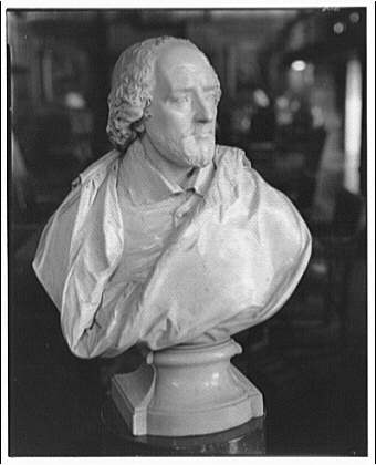 Folger Library copy work. Bust of Shakespeare II