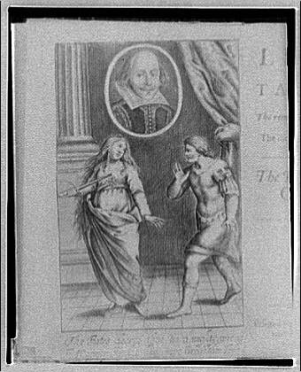 Folger Library copy work. Frontispiece of a Shakespeare play