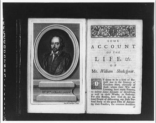 Folger Library copy work. Portrait of Shakespeare and first page of text of a biography