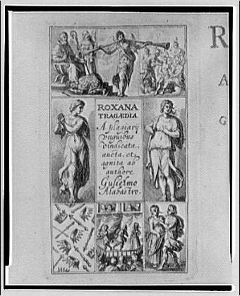 Folger Library copy work. Title page of play Roxana by Alabastro