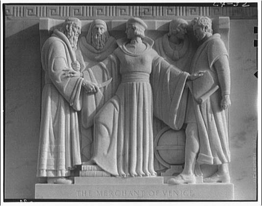 Folger Library exteriors. Carving on Folger Library building, Merchant of Venice