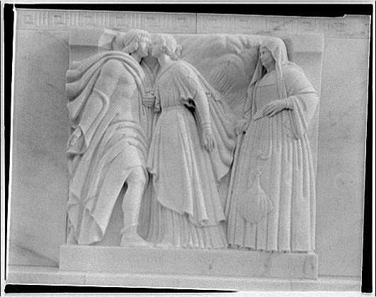 Folger Library exteriors. Carving on Folger Library building, Tragedie of Romeo and Juliet