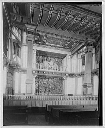 Folger Library interiors. Folger Library theater stage from angle