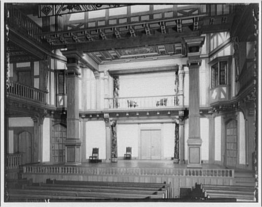 Folger Library interiors. Stage of theater at Folger Library from angle