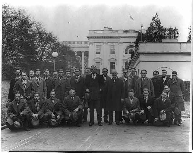Football team of Drake University of Des Moines at the White House