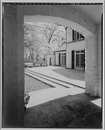 Foxcroft School, Middleburg, Virginia. View to Foxcroft School buildings through archway