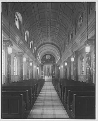 Georgetown Preparatory School. Church interior with barrel vaulted ceiling at Georgetown Preparatory School