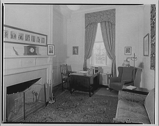 Georgetown Preparatory School. Office or study with desk in corner by window, Georgetown Preparatory School