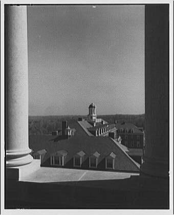 Georgetown Preparatory School. View of Georgetown Preparatory School roofs from between columns