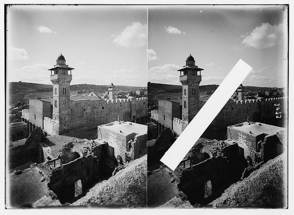 Hebron and surroundings. Machpelah enclosure showing Herodian Wall. Christian basilica and Moslem [i.e., Muslim] minaret