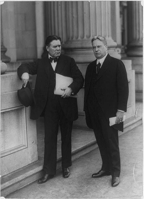 [Hiram Warren Johnson California senator (right), and William Edgar Borah, Idaho Senator (left), full-length portrait, standing]