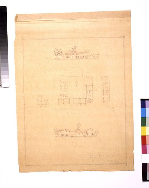 """[Houses designed around a court (""""Court group of houses"""") (California). Ground plan, second floor plans, east and north elevations] / James Osborne Craig, architect."""