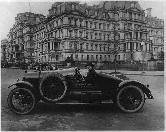 Hudson super six automobile in Washington, D.C., at 17th and Pennsylvania Avenues, N.W., in front of State, War, and Navy Bldg.