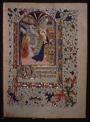 Illuminated manuscript pages. Annunciation illumination I