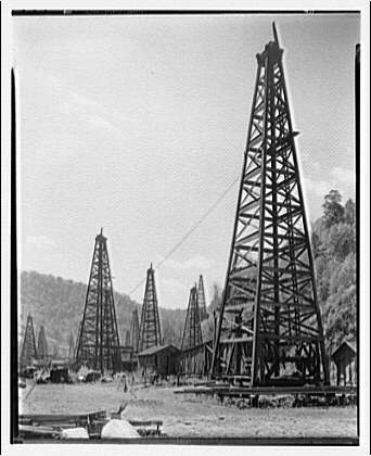 Kelly Creek, West Virginia. Oil and gas wells