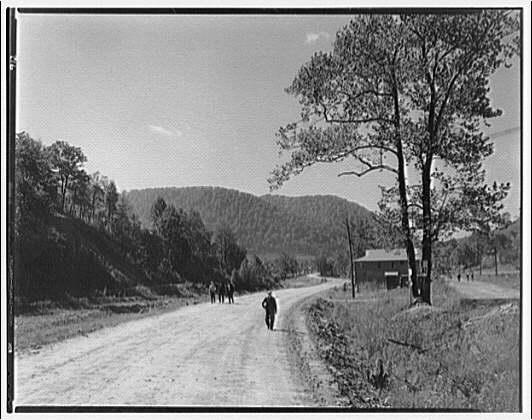 Kelly Creek, West Virginia. View of dirt road