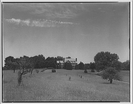 Landon School for Boys. Field with school house I