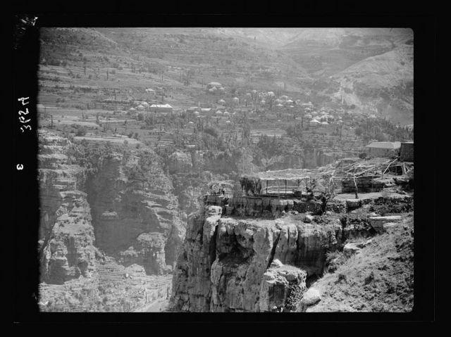 Lebanon. Ehden to cedars. Village of Bsherreh looking up the Kadisha gorge