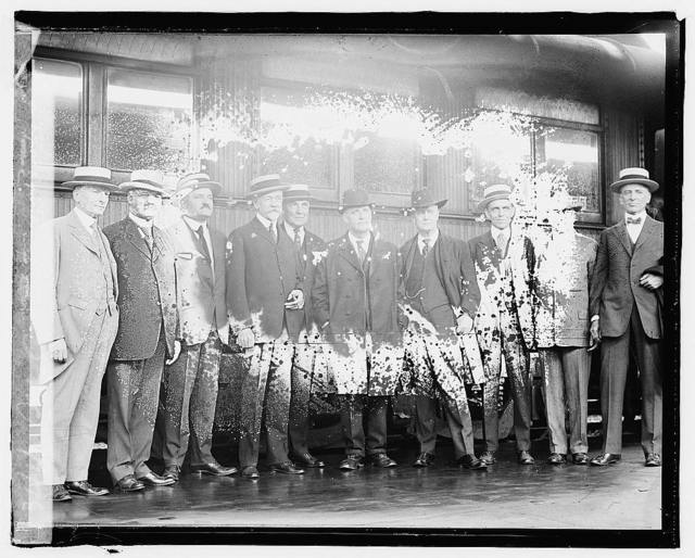 [Left to Right: Senators McCumber, Curtis, Calder, Lodge, Harding, Brahdegee, New, Capper, Phipps, Sutherland. Republican Senators leaving Washington immediately after the adjournment of Congress, June 5, 1920 to attend the Rep. Nat. Conv. at Chicago]