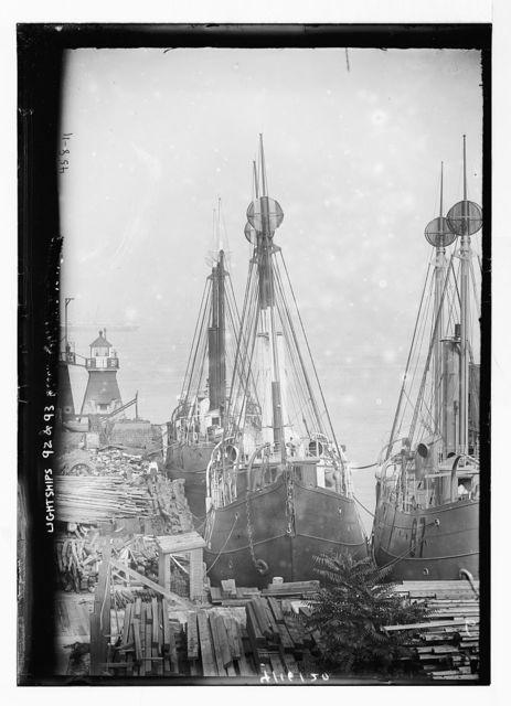 Lightships #92 and #93 at dock, Tompkinsville