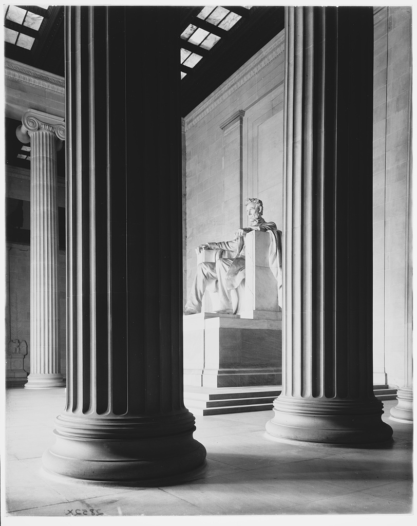 Lincoln Memorial. View through columns of statue of Lincoln II