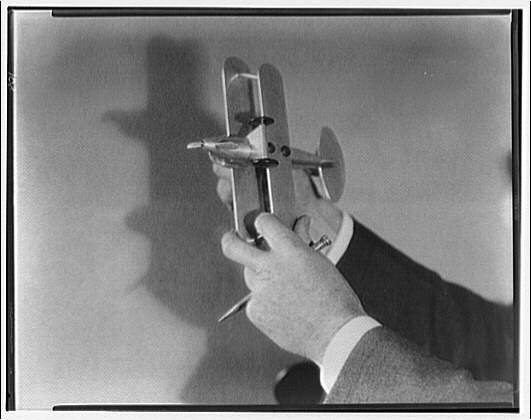 Lt. Williams. Lt. Williams with model airplane II