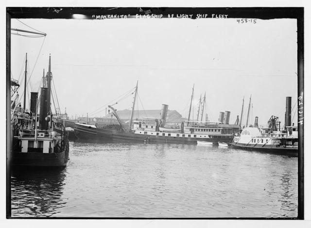 Manzanita - flagship of lightship fleet [at pier, Tompkinsville]