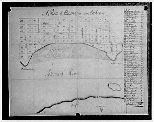Map of Alexandria, Virginia. Map drawn by George Washington
