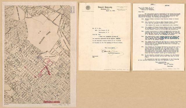 [Map of proposed extension of Vermont Avenue and Clifton Street N.W. to Georgia Avenue, Washington D.C.].