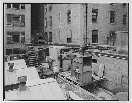 Mayflower Hotel. Construction of air conditioning on roof of Mayflower Hotel XI