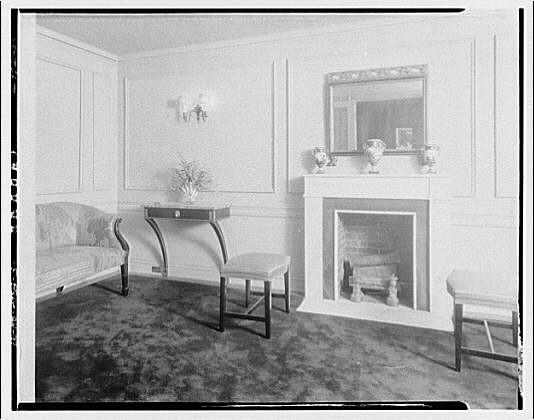 Miscellaneous interiors. View to fireplace