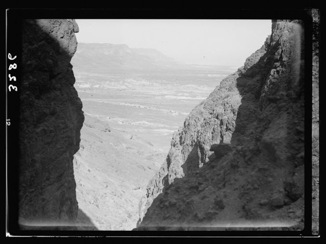 Motor boat trip around the Dead Sea. View from Masada looking north through the gorge