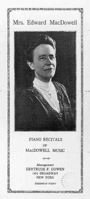 Mrs. Edward MacDowell: piano recitals of MacDowell music (cover of publicity brochure)