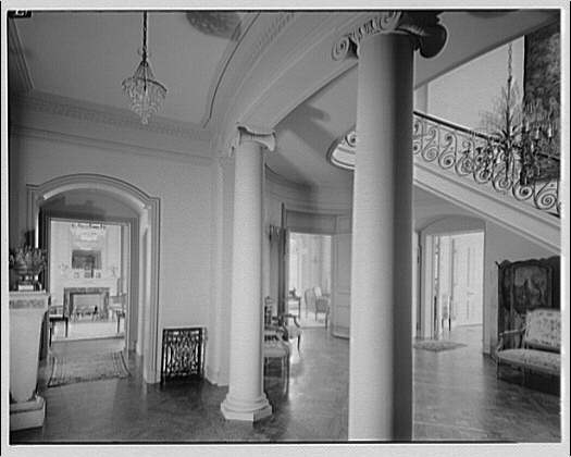 Mrs. Moran home at 2320 Bancroft. Interior with columns in foreground in Mrs. Moran's home