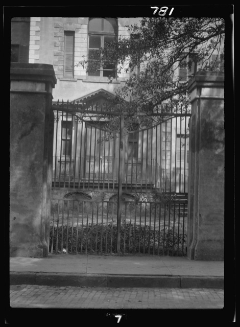Multi-story house behind a gate, New Orleans or Charleston, South Carolina