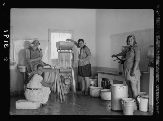 Nahalal. Girls' Agricultural Training School. Dairy. Working the cream separators