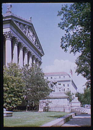 National Archives. Exterior of National Archives from Constitution Ave., side angle II