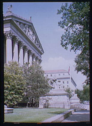 National Archives. Exterior of National Archives from Constitution Ave., side angle I
