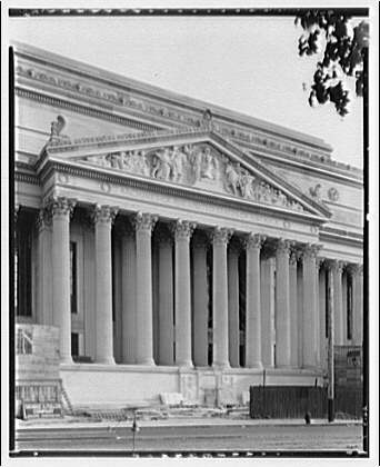 National Archives. Pediment of National Archives on Pennsylvania Ave. side (angle shot)