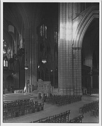 National Cathedral interiors. Angle view of crossing in National Cathedral