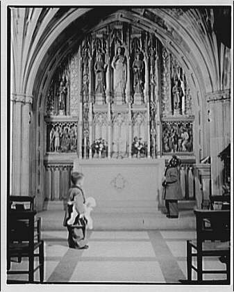 National Cathedral interiors. Children's Chapel in National Cathedral with children