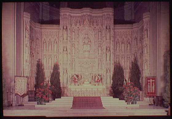 National Cathedral interiors. High altar in National Cathedral, straight-on, horizontal II